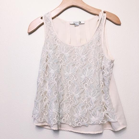 83ebf44e4b96f3 Forever 21 Tops | Lacey White Blouse Size Small | Poshmark